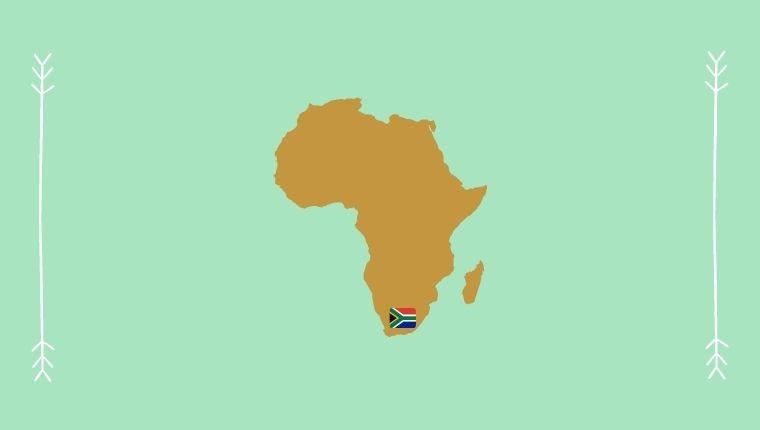 アフリカ大陸の地図と南アフリカ