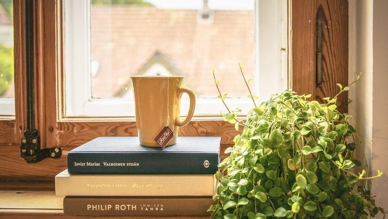 窓際に積み重なった本